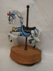 Carousel Horse Music Box, White Horse With Red Yellow Blue Carousel Waltz