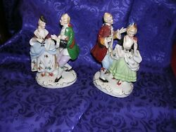 #Z 2 Vintage Figurines porcelain couple courting Made in Japan with Man amp; Woman