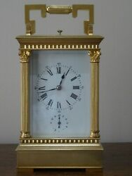 Beautiful Antique, Gilded French Strike/repeat/alarm Carriage Clock - Overhauled