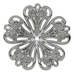 Embellishment Stamping 42mm Concave Flower Filigree Ornate Silver Tone
