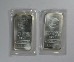 Two Consecutive Serial Number Engelhard Old Vintage 10 Ounce Silver Bars Eh