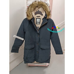 Abercrombie And Fitch Sherpa Lined Military Parka Jacket Coat Black Womens Size M