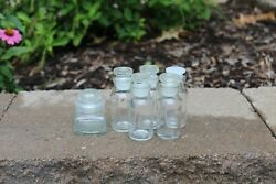Vintage Spice Bottles Jars Apothecary Glass Clear W Stoppers Lot Of 6