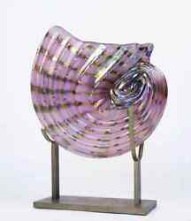 Large Murano Style Studio Art Glass Shell In Irredescent Glass By Jack Ink