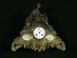 Antique Mantle Clock In Two Tone Shades Of Brass And Bronze