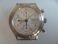 Hamilton Automatic Chronograph Day Date Mens Wristwatch Stainless Steel 80and039s.