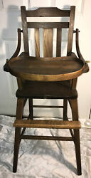 Antique Vintage Arts And Crafts Mission Oak Wood Bentwood Arm Baby High Chair