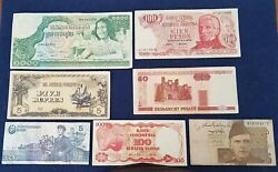 45 X World Banknotes All Different Iraq/peru/italy/india Good To Fair Condition
