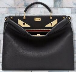New Fendi Peekaboo Iconic Fit Bag Black Briefcase Monster Eyes Leather Andpound3450 ⭐️