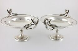Antique Solid Silver Mappin And Webb Serpent Bon Bon Dishes. Pair Snake Bowls 1908