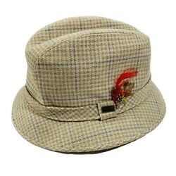 Vintage Dobbs Fifth Ave Fedora Hat Tweed Mens Size 7 1/2 - 7 5/8 Houndstooth Xl