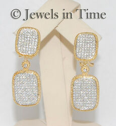 1.51 Carat Pave Diamond Earrings In 18k Yellow And White Gold