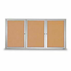 United Visual Products 96w X 48h 3-door Outdoor Enclosed Corkboard With Satin