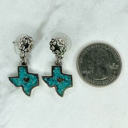 Ege Silver Tone Vintage 1993 Turquoise Inlay Texas State Pierced Earrings