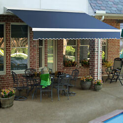 Awntech Retractable Awning Right Motor 20and039w X 10and039d X 10h Dusty Blue