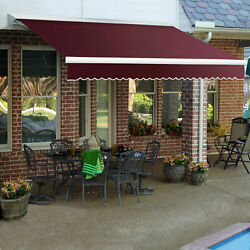 Awntech Retractable Awning Manual W X 8and039d X 10h Burgundy