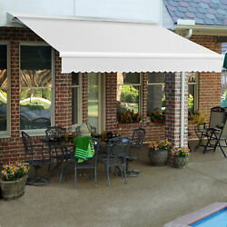 Awntech Retractable Awning Manual W X 8and039d X 10h Off White