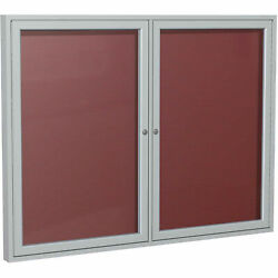 Ghentand174 2 Door Enclosed Flannel Letter Board W/silver Frame, 60w X 48h,