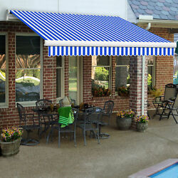 Awntech Retractable Awning Manual 10'w X 8'd X 10h Blue/white