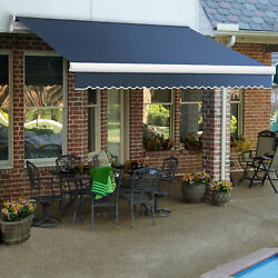 Awntech Retractable Awning Manual 10'w X 8'd X 10h Dusty Blue