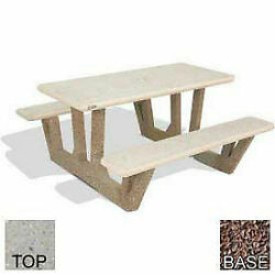 38 Concrete Rectangular Picnic Table Polished Tan River Rock Top Red