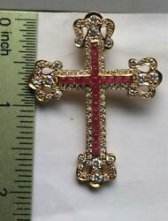 18k Y/g 4.51 Ct Ruby Diamond Cross Pendant. Egyptian Made With Paperwork.