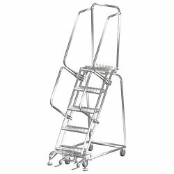 Ballymore Ss052414p 5 Step 16wx46d Stainless Steel Rolling Safety Ladder,