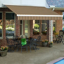 Awntech Retractable Awning Left Motor 12and039w X 11/16and039h X 10and039d Brown/tan