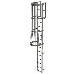 Ega Fc14 Steel Fixed Cage Ladder 14 Step Gray