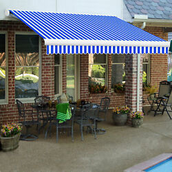 Awntech Retractable Awning Manual 8'w X 7'd X 10h Bright Blue/white