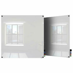 Ghent Harmony Magnetic Glass Board W/square Corners, White, 48 X 48