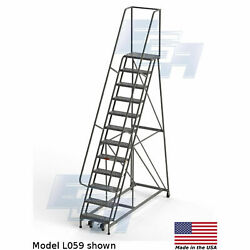 Ega L059 Industrial Rolling Ladder 12-step 26 Wide Perforated Gray 450lb.