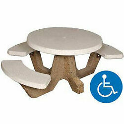 42 Round Ada Picnic Table With 3 Benches, Concrete