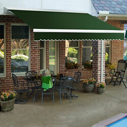 Awntech Right Motor Retractable Awning 12and039w X 10and039d X 10h Forest Green