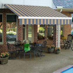Awntech Retractable Awning Right Motor 18and039w X 10and039d X 10h Dusty Blue /tan