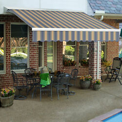 Awntech Retractable Awning Manual W X 8and039d X 10h Dusty Blue/tan