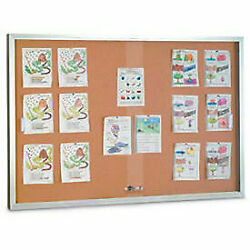 United Visual Products 72w X 48h Sliding Glass Door Corkboard With Satin Frame