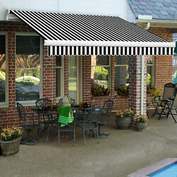 Awntech Retractable Awning Manual 10'w X 8'd X 10h Black White