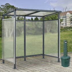 6and0395x3and0398x7and039 Bus Smoking Shelter Flat Roof 3-side Open Front W/green 5 Gallon