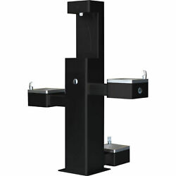 Outdoor Bottle Filler And Bi-level Drinking Fountain And Pet Station, Black Powder