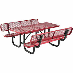 4and039 Rectangular Outdoor Expanded Metal Picnic Table With Backrests Red