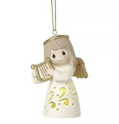 Precious Moments Led Angel With Harp Porcelain Ornament Andldquonewandrdquo Free Shipping