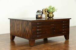 Oak Midcentury Modern 5 Drawer File Collector Or Map Chest Coffee Table 37378