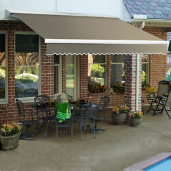 Awntech Retractable Awning Manual W X 8and039d X 10h Taupe