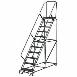 Ballymore Sw1132p 11 Step 24w Steel Safety Angle Rolling Ladder W/ Handrails,