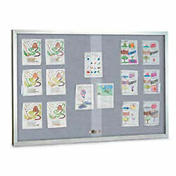 United Visual Products 96w X 48h Sliding Glass Gray Easy Tack Board With Satin