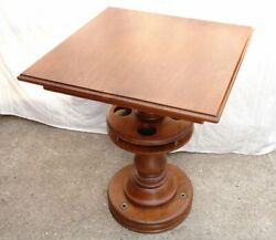 Antique Late Victorian Square Solid Oak Rotating Shipand039s Drink Drinking Table