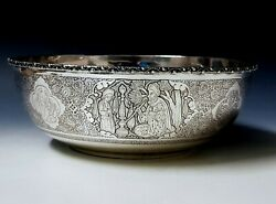 Very Fine Antique Persian Style Middle Eastern Islamic Solid Silver Bowl 559g