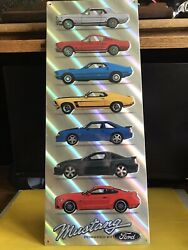 """Mustang Powered By Ford Metal Sign 8.25""""w X 21"""" Tall Nip For Mancave/shop"""