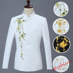Mens Stand Collar Chinese Tunic Suit Floral Embroidered Chorus Costume 2pc Suits